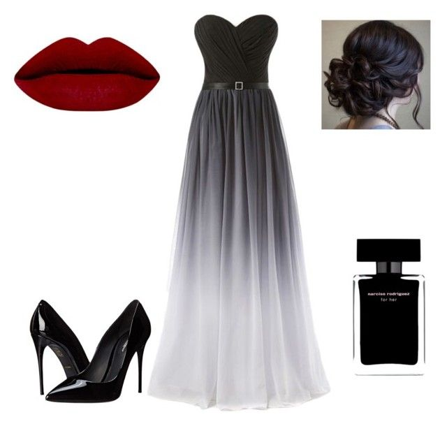"""Ombre black prom by Sarah Nicole"" by bysarahnicole on Polyvore featuring Dolce&Gabbana and Narciso Rodriguez"