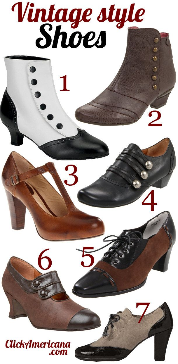Vintage shoe styles for women The shoes featured above: 1. Bordello by Pleaser Women's Flora Boot 2. Eric Michael Esme Boot 3. Frye Women's Miranda T Strap 4. Portlandia Women's Calistoga Ankle Boot 5. Ros Hommerson Women's Opry Oxford 6. Re-Mix Vintage Women's Savoy Mary-Jane Pump 7. A2 by Aerosoles Women's Stroller Professional Shoes Like ….