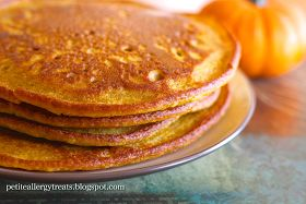 Petite Allergy Treats: Gluten Free Pumpkin Pancakes Used gf all purpose flour, added a puréed banana, omitted egg replacer and xantham gum. Turned out really good.