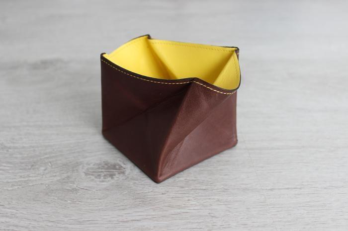 Porte monnaie Hurbane - cuir brun et jaune