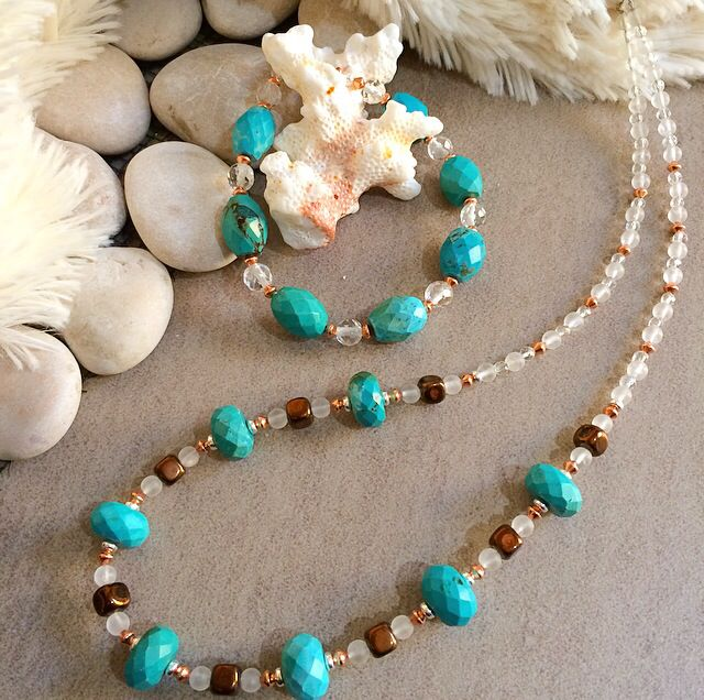 Natural turquoise necklace and bracelet #design #unique #jewellery #handmade #GGJewellery