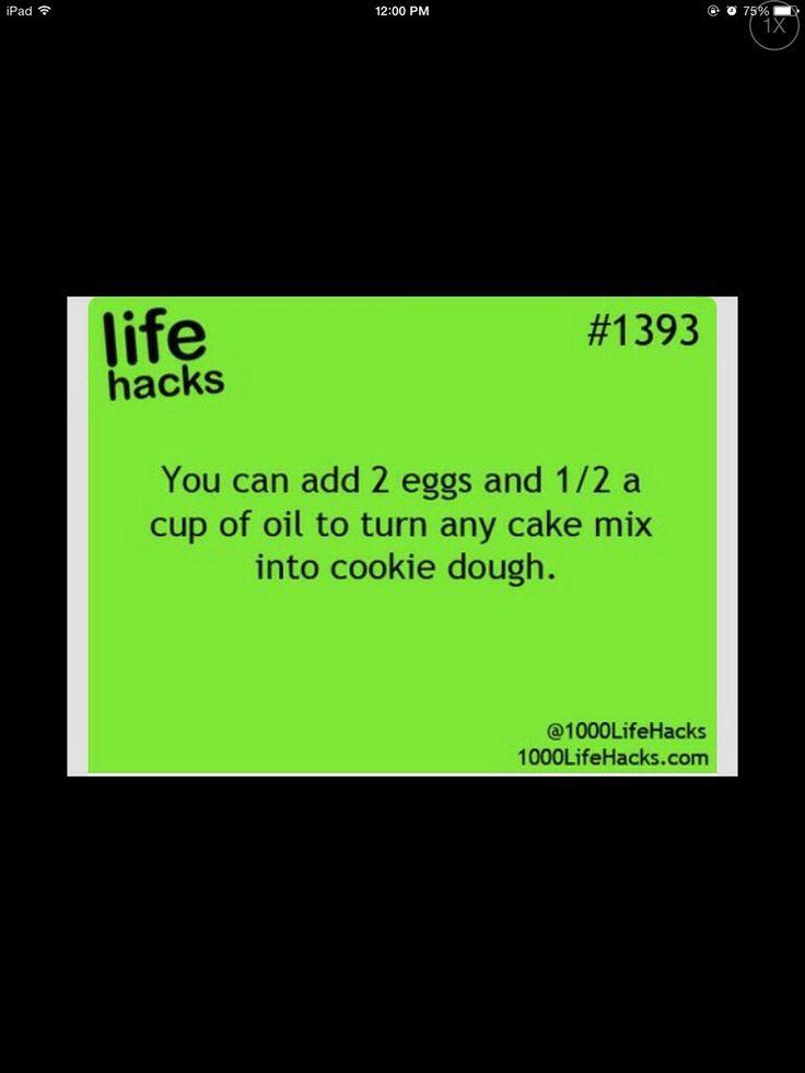 LIFE HACKS!!!! Turn Any Cake Mix Into Cookie Dough! :) MMM!