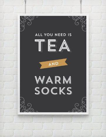 Typography Print, Quote Print, Tea Print, Black Gold, Warm Socks, Wall Decor, Cozy Print- Tea and Socks (12x18)