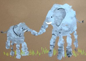 Elephant Handprint Art...how sweet is this?! :) I hope Sarah sees this for Jace and Lily - a Square1Art idea?