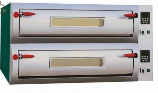 Forno elettrico per 12 pizze Ø 33 - controllo digitale - Professional  Nuovo Design arrotondato - Ideale per Pizzerie con forno a vista. Capacità : 12 pizze da Ø 33 Potenza : 23,60 Kw Dimensioni Camere : 2 x 70x105x15 cm Dimensioni esterne : 106x137x80 cm Peso : 217 Kg