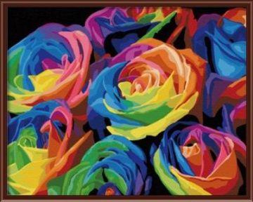 """вАлмазе RU - арт.14618 Раскраска по номерам """"Радужные розы"""" [размер 40*50 см.] - 1500 руб. - под заказ"""