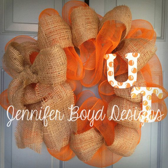 SALE - UT University of Texas Longhorns or  Tennessee Vols orange, white, and burlap Deco Mesh Wreath with handpainted letters