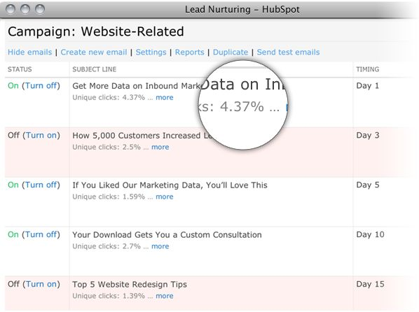 Create a series of emails for your own marketing automation campaign. You can do that all in HubSpot!