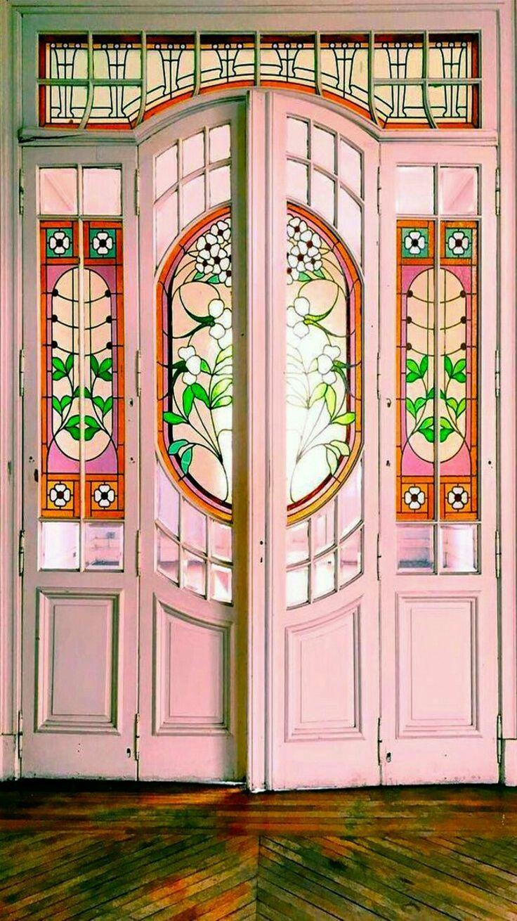 Pink doors in Campos, Brazil.