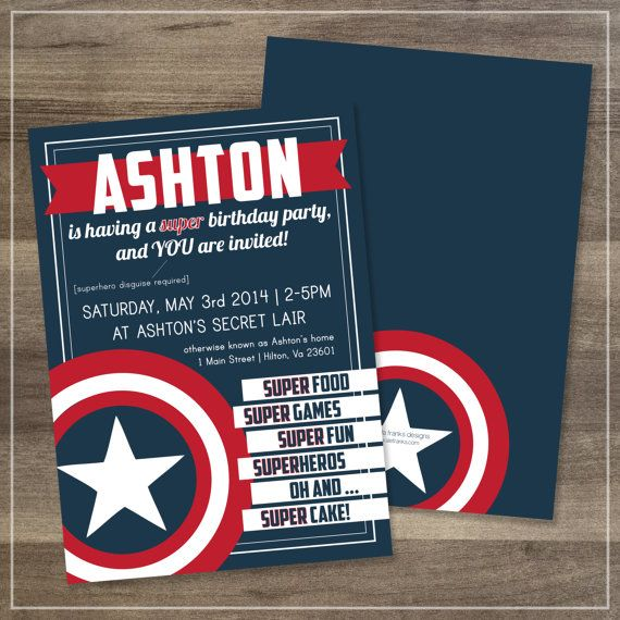 Birthday Party // Captain America // by afranksdesigns on Etsy