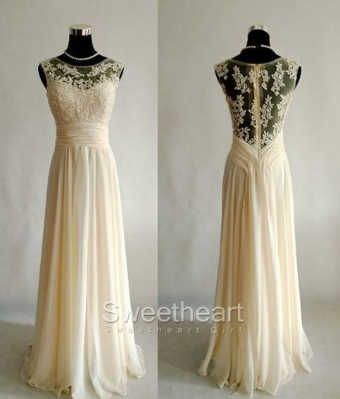 A-line Champagne Chiffon Lace Long Prom Dresses, Bridesmaid Dresses #prom #promdress