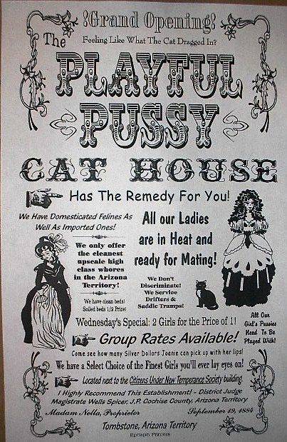 "(147) OLD WEST BROTHEL TOMBSTONE PLAYFUL PUSSY CAT HOUSE WHORE POSTER 18""x30"""