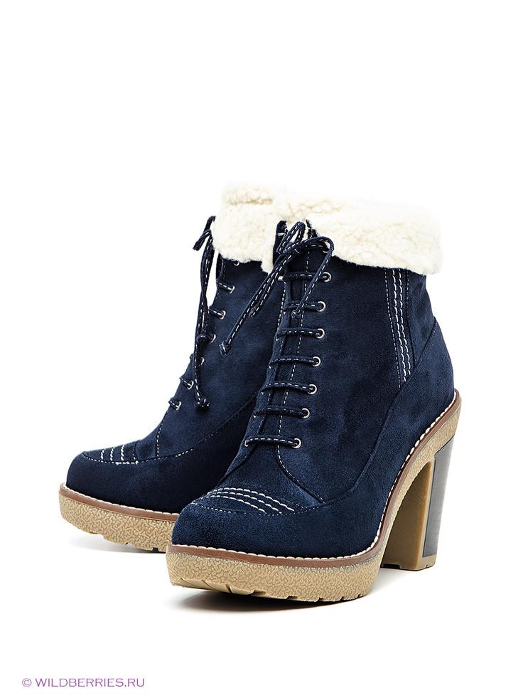 Полусапожки Betsy. Цвет темно-синий. Категории: Ботинки, ботильоны, Зимние, На высоком каблуке.