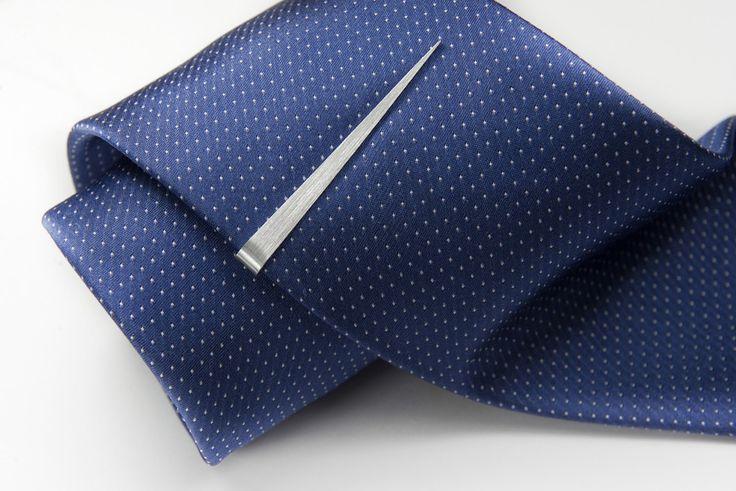 Needle sterling silver tie clip