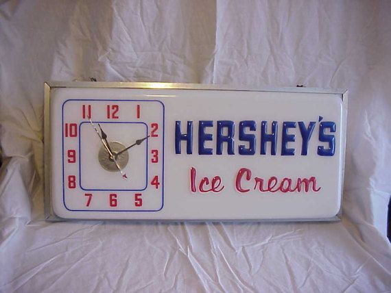 Vintage Hershey's Ice Cream Light Up Clock by vintagemagazinesinVT