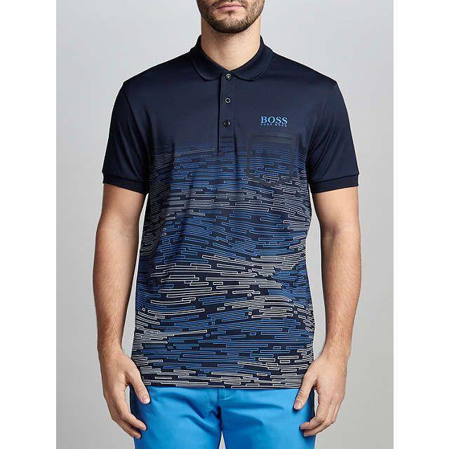 BuyBOSS Green Pro Golf Paule Pro 2 Pattern Polo Shirt, Navy, S Online at johnlewis.com