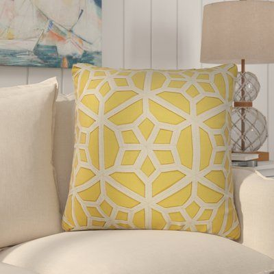 Rosecliff Heights Bonham Geometric Pattern Polyester Throw Pillow Color: Yellow / Taupe