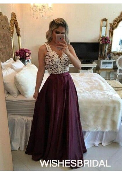 ddea3beb041 Burgundy V Neck Taffeta Sweep Train Pearls Sleeveless A Line Prom Evening  Dress Cwb0772