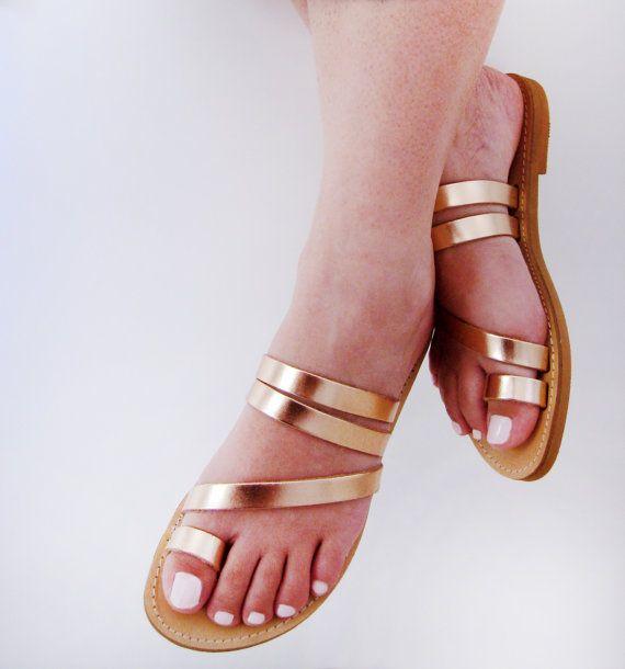 Greek Style Metallic Sandals