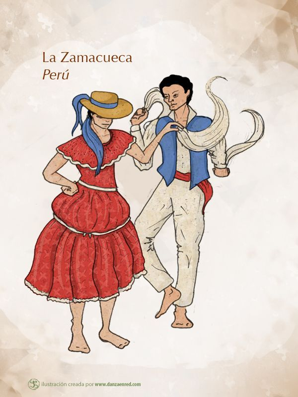 zamacueca - South American dance where partners move around each other .