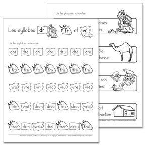Fichier PDF téléchargeable En noir et blanc 2 pages Les élèves doivent d'abord lire les syllabes données. Ensuite, ils lisent les phrases illustrées. Vous pouvez les utiliser comme feuilles de leçons à faire la maison.