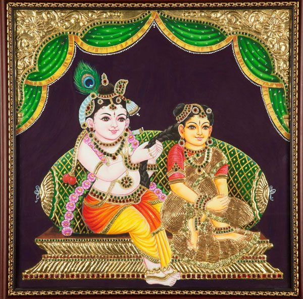 TAnjore Painting of Radha Krishna........