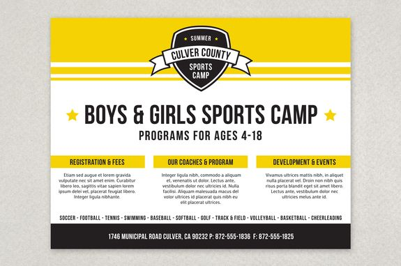 Energetic Sports Camp Flyer Template  With Its Bold Look And