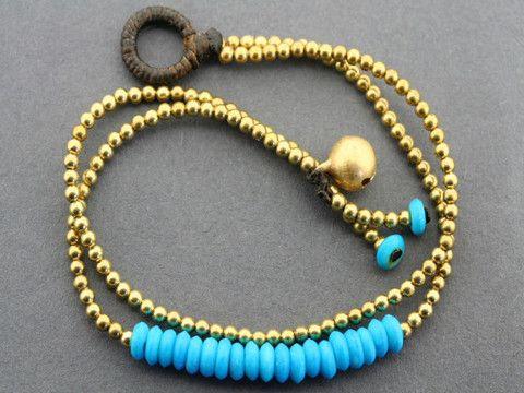 2 strand turquoise disc bracelet - brass