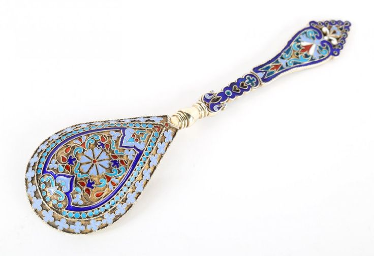 Russian cloisonne enamel silver-gilt caviar spoon, Ivan Khlebnikov 1889.