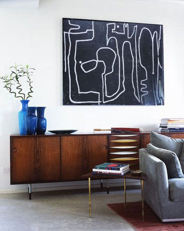 Another large black and white painting by San Francisco abstract painter Aaron Kllc. His minimal forms and use of natural materials give his work a distinctive primitive modern look.