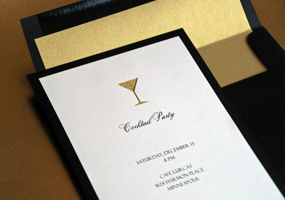 Gold or Silver Glitter Martini Glass Cocktail Party Invitation, Holiday Christmas Party Invite, Invitations