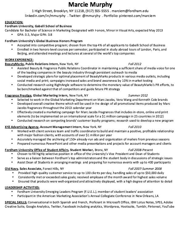 this example marketing resume examples we will give you a refence start on building resumeyou can optimized this example resume on creating resume for your - Advertising Internship Resume