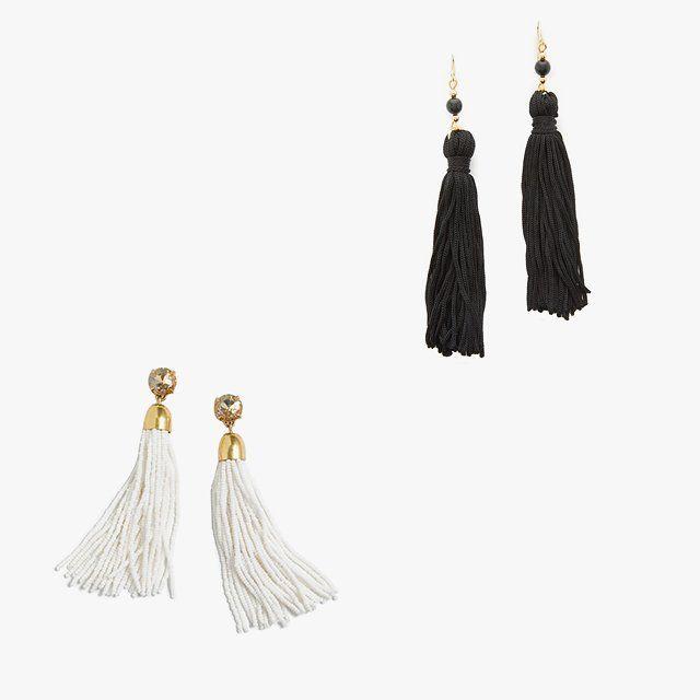J.Crew beaded tassel earrings, $65, jcrew.com; Kenneth Jay Lane Bead & Tassel earrings, $40, shopbop.com