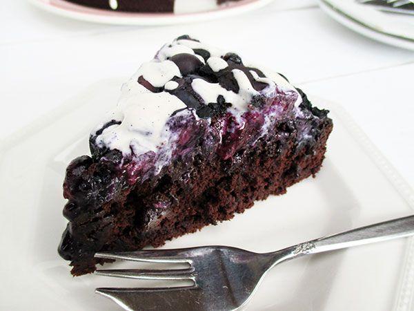 Blaubeer Schokoladen Kuchen (Vegan, Glutenfrei, ohne Kristallzucker, Low-Fat)