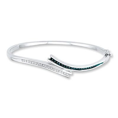 Slide into this white diamond and Artistry Blue Diamond bangle this fall!