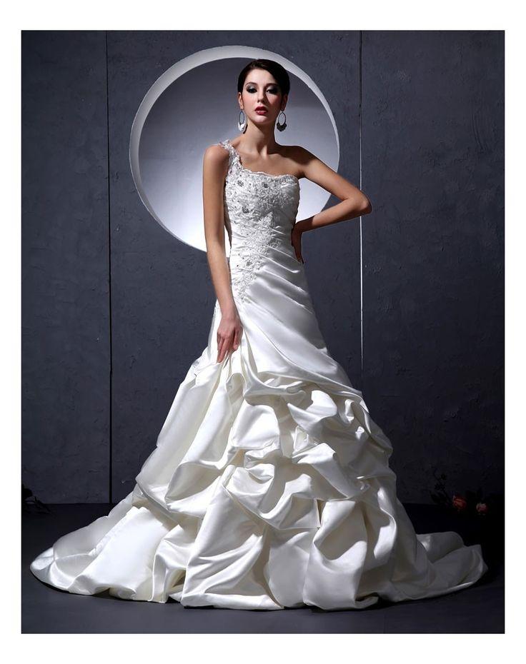 Monospalla Abito Da Sposa Con Strascico Lungo in Ventita Online