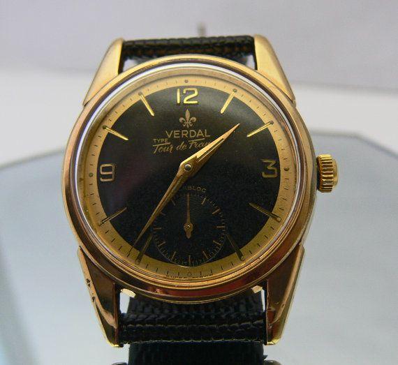 Verdal Tour De France 1960 S Swiss 17 Jewel Gold Plated