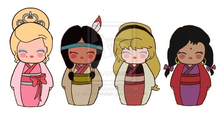 Kokeshi Disney Girls by kaoshoneybun