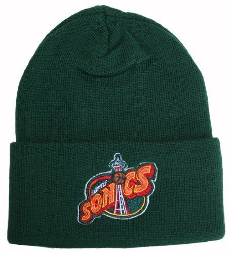 super popular 9f5fd 54aab Vintage High-Bulk Seattle Sonics Green Cuff Beanie by NBA.  17.46. One Size  Fits Most (OSFM). Vintage Deadstock (meaning thes…
