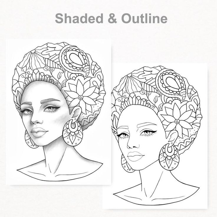 Printable coloring page african girl portrait colouring