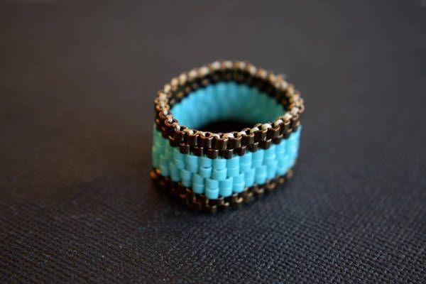 Handmade item.Beaded ring.Peyote Ring.Delica Beads.Mariella's Code. by mariellascode on Etsy