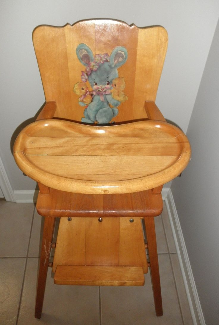 Antique Baby High Chair With Wheels