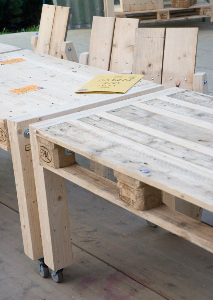 + DIY | Pallets tables on wheels ...