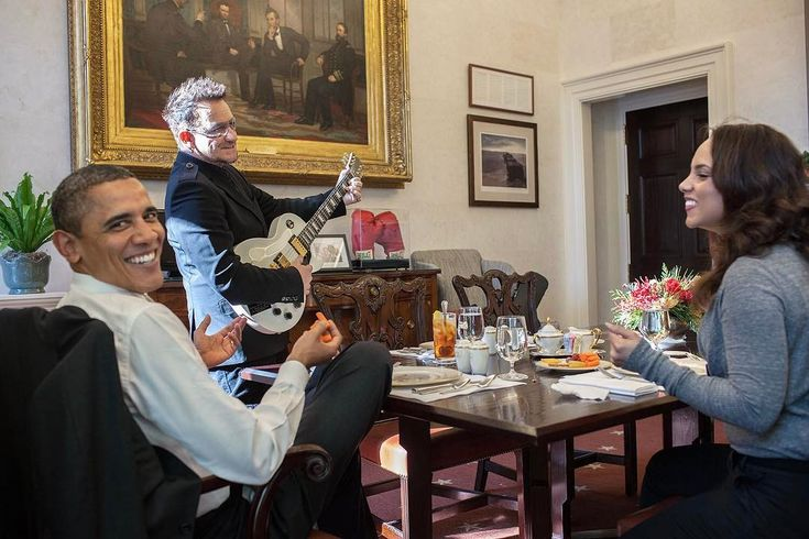 """This story is better than the photo. Back in 2011, the President invited Bono and Alicia Keys to lunch in his private dining room adjacent to the Oval Office. Bono asks where he should sit. Potus says sit wherever there's a chair. Bono sees a guitar case in the corner, a campaign memento from Rock The Vote event. Bono quickly tunes the guitar and starts playing/singing Norwegian Wood by the Beatles. Why? Because the second verse goes like this: """"She asked me to stay And she told me to sit…"""