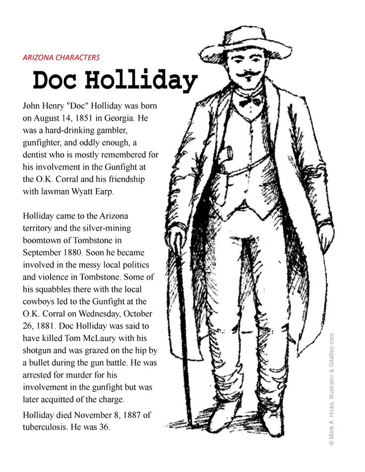 john henry doc holliday coloring page printout