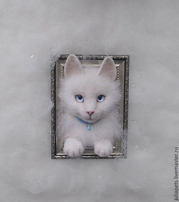 Купить Котик ангорский Снежик Картина панно из шерсти (войлок) - белый, белый кот