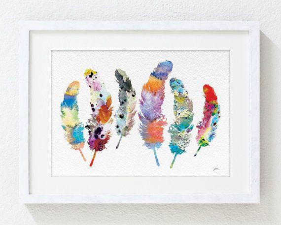 Aquarelle Print - 5 x 7 Archiv - plume Art, peinture - plume Art Print - Wall Decor Art Home Decor Housewares de plumes colorées 6