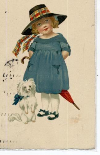 Bambina-con-Cane-Volpino-Ombrello-Cappello-Firmata-MA-PC-Viaggiata-1925