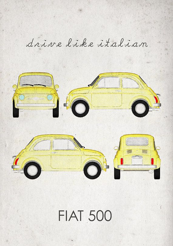 Drive like Italian. Fiat 500. Wall Art. Car Graphic. by jbFARM