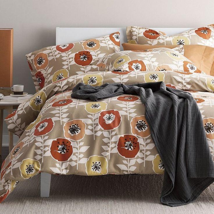 Sunnyside Floral 5 Oz. Flannel Duvet Cover / Sham - Red